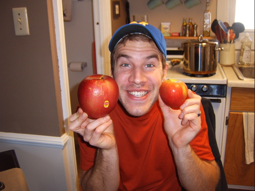 We also wanted to compare the apples to the size of Pete's head. The giant apple is truly about 1/2 of Pete's head size...now that's a large apple!